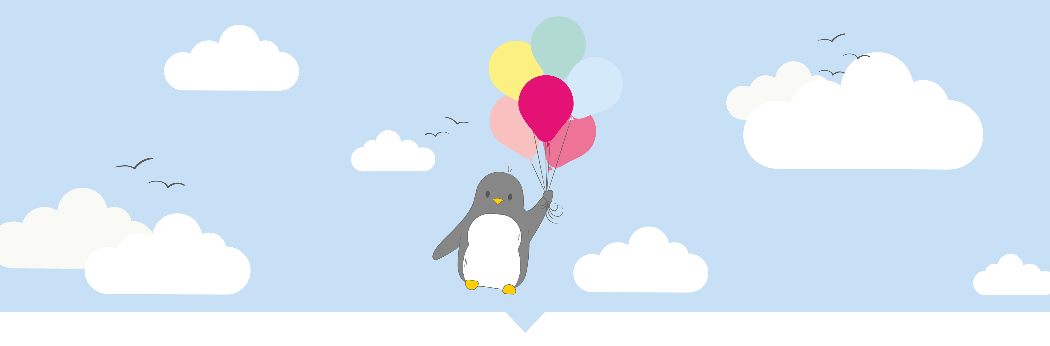 Penguin Floating away with a bunch of colourful balloons on a cloudy blue background- Sian Shrimpton Design & Illustration