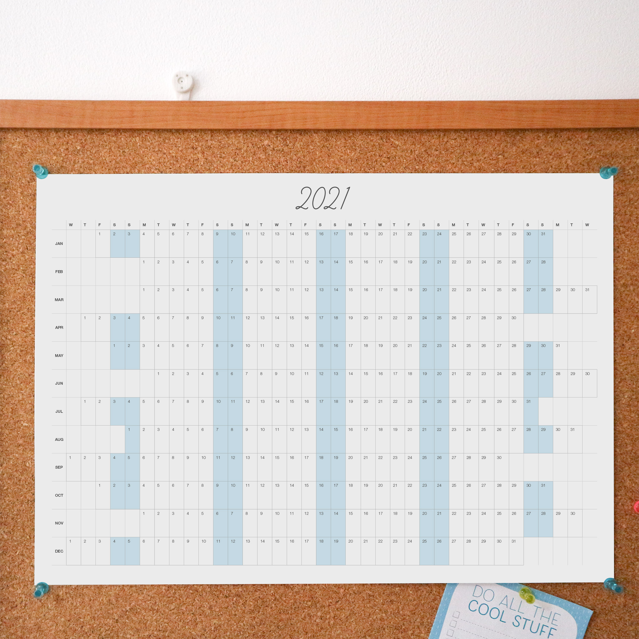 A minimal style A3 wall planner styled against a noticeboard. The planner is for the year 2021.